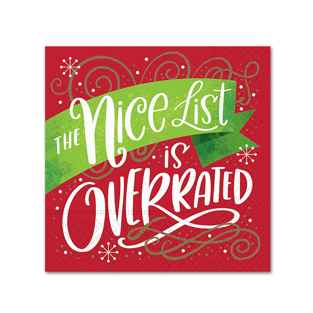 Nice List Overrated Funny Christmas Cocktail Napkins