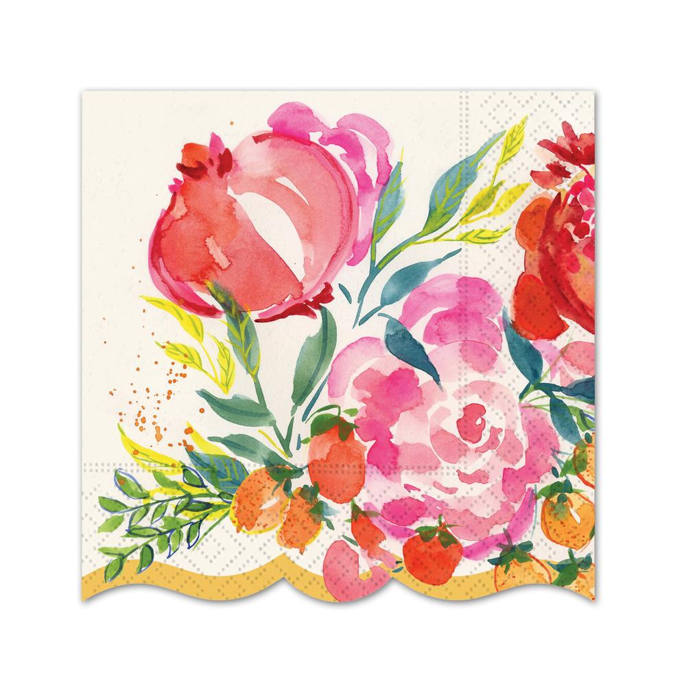 Pomegranate Bloom Paper Beverage Napkins