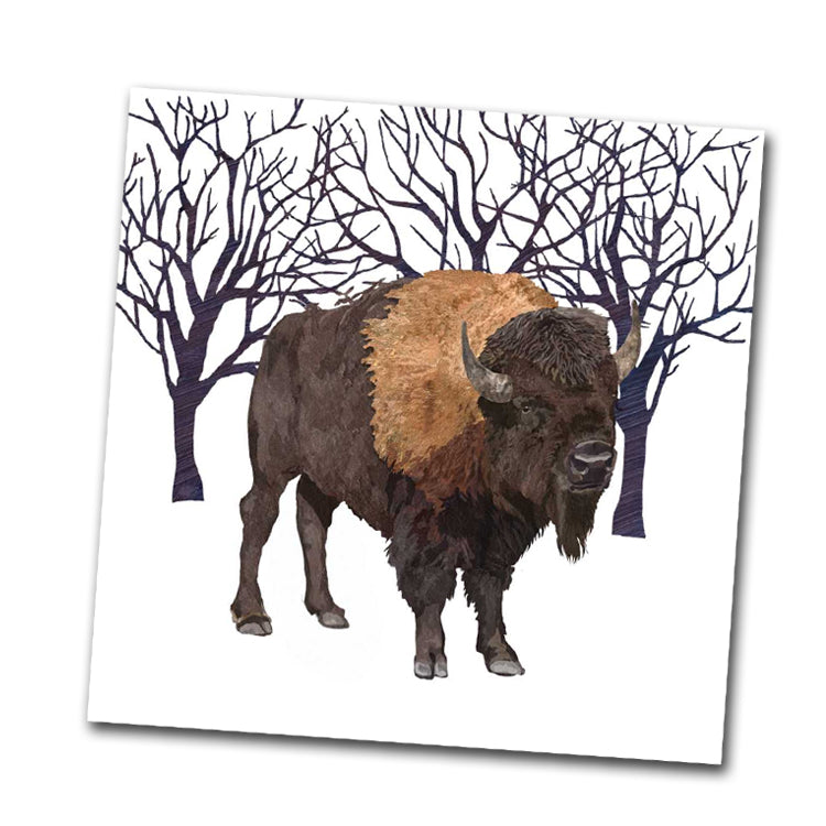 Winter Buffalo Beverage Napkin