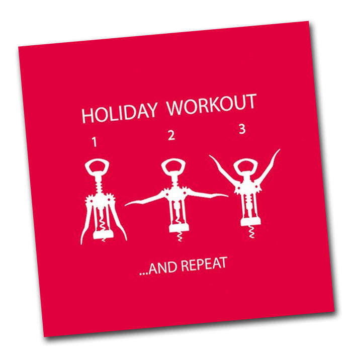 Holiday Workout Funny Cocktail Napkins