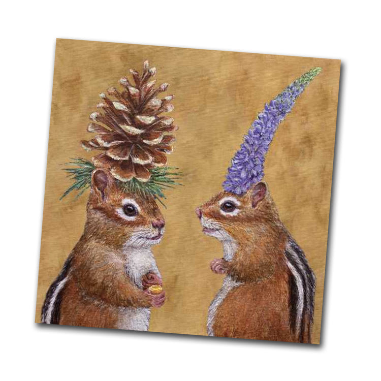 Chipmunk Courtship - Beverage Napkins by Vicki Sawyer