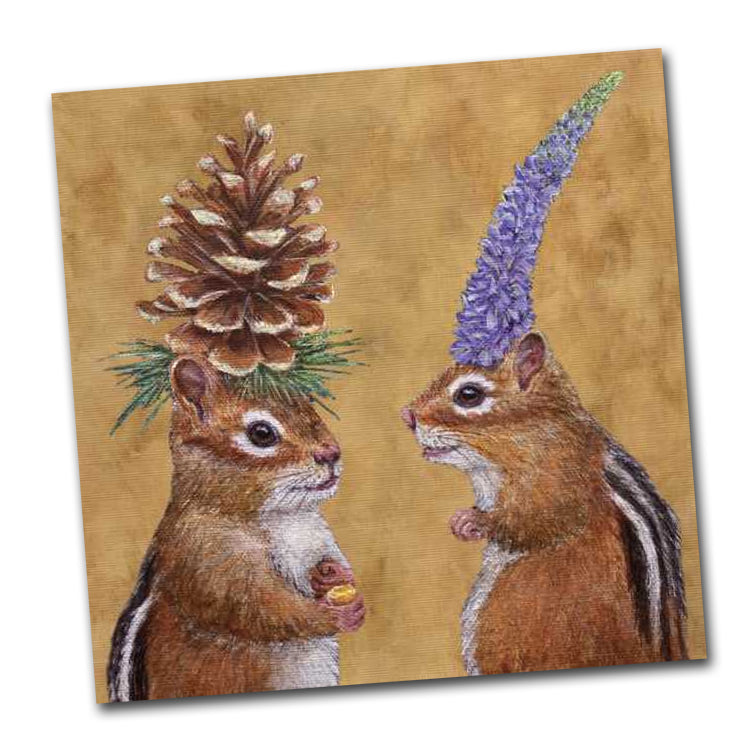 Chipmunk Courtship - Luncheon Napkins by Vicki Sawyer