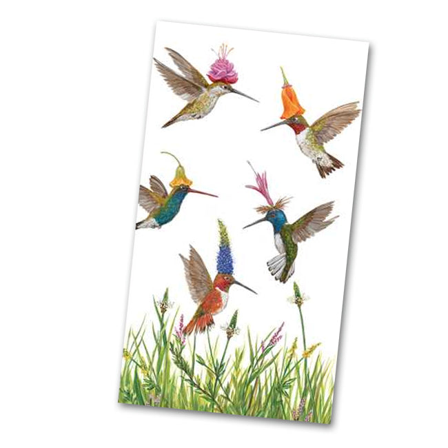 Meadow Buzz Hummingbirds Paper Guest Towels - Buffet Napkins