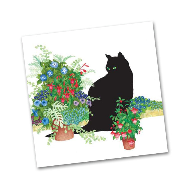 Black Cat with Flower Pots Beverage Napkins