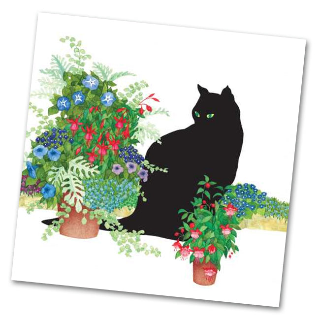 Black Cat Flower with Pots Luncheon Napkins