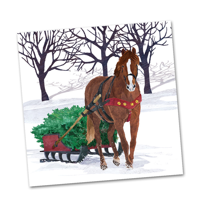 Winter Horse Sleigh Beverage Napkin