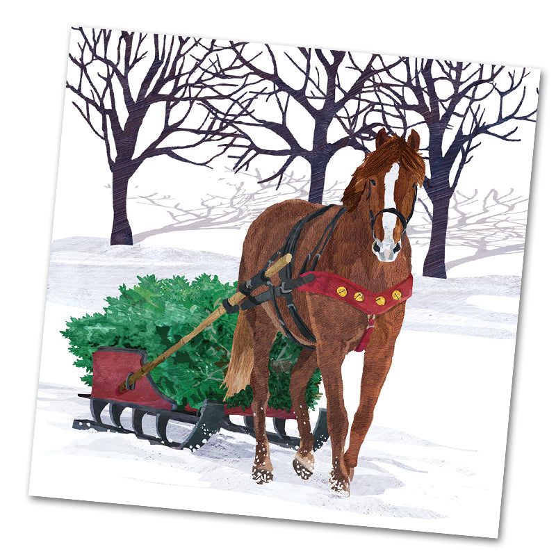 Winter Horse Sleigh Luncheon Napkin