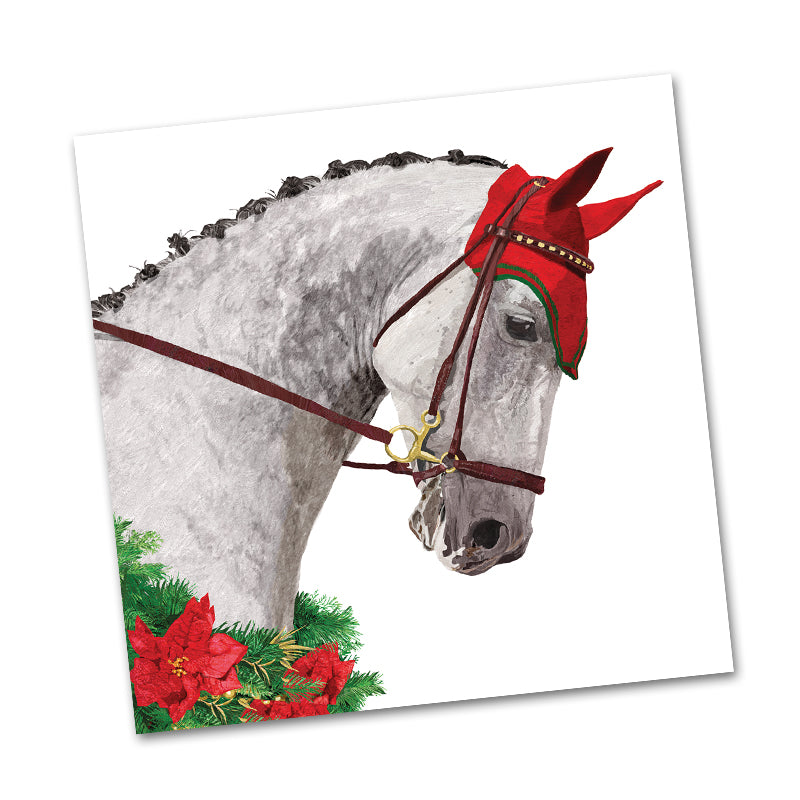 Julius Grey Holiday Horse Beverage Napkins