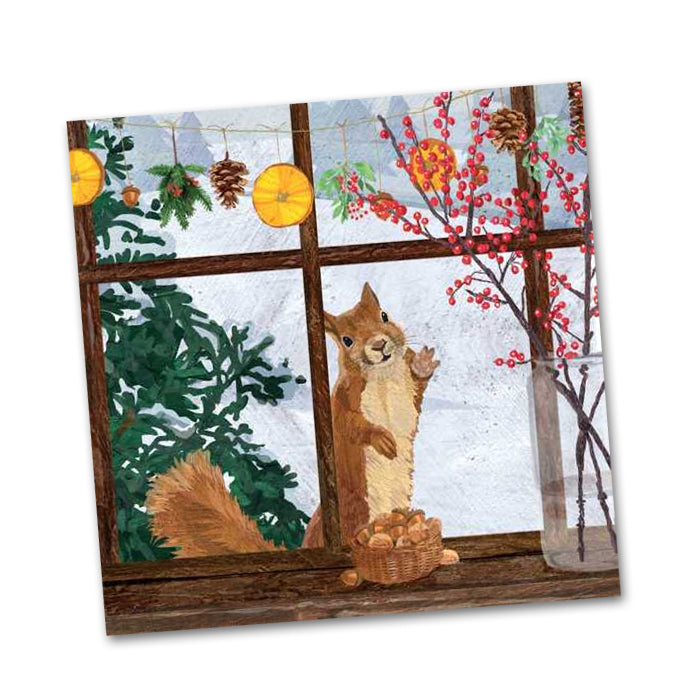 Hearth Time Squirrel Beverage Napkins