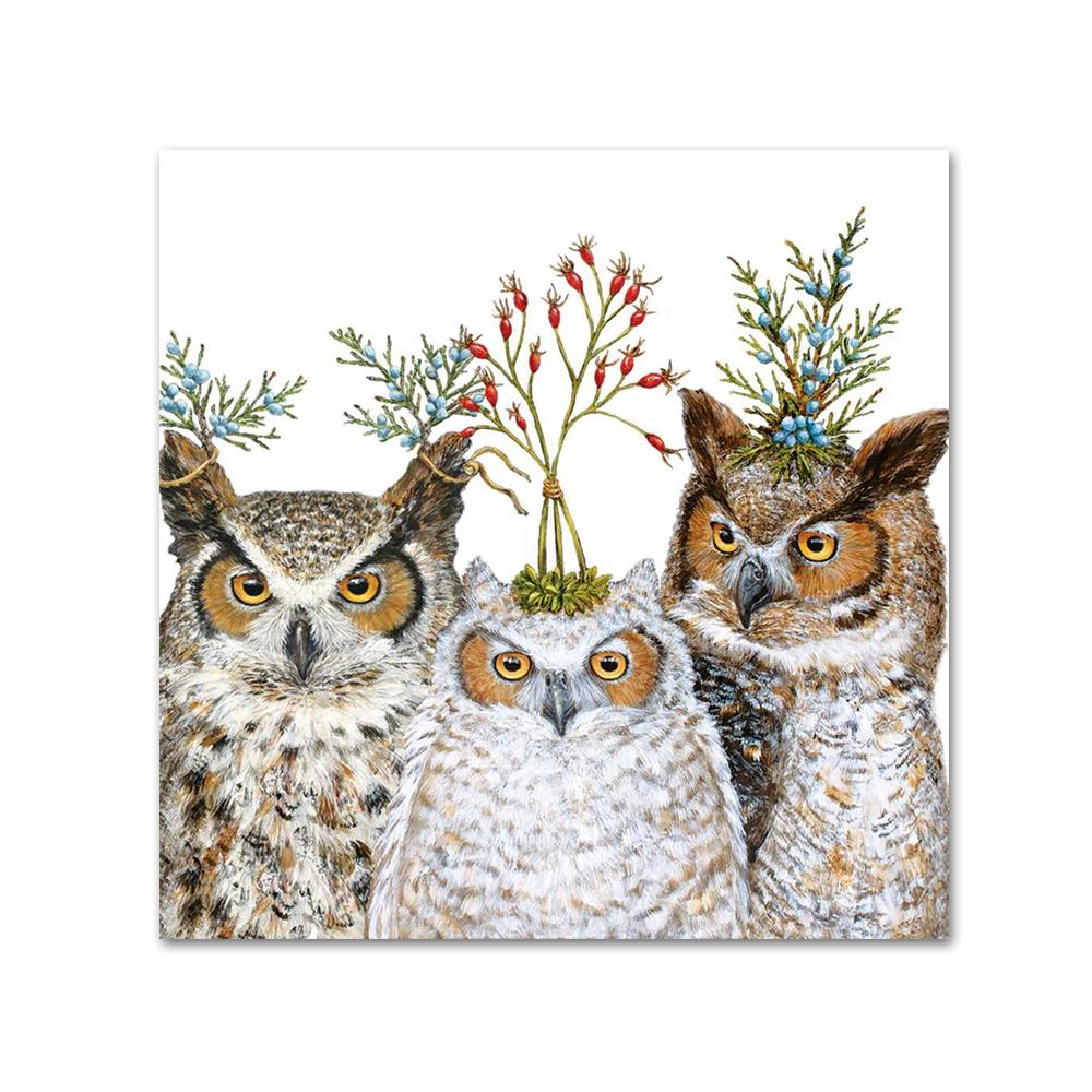 Holiday Hoot Owl Napkins - Beverage