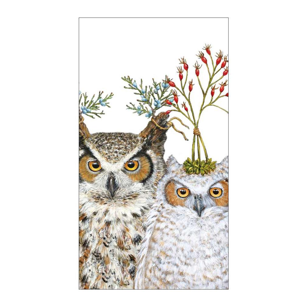 Holiday Hoot Owl Guest Towesl - Buffet Napkins