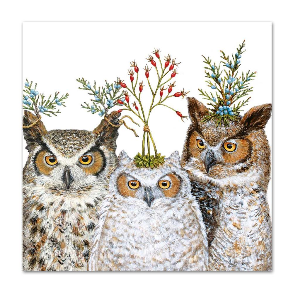 Holiday Hoot Owl Napkins - Luncheon