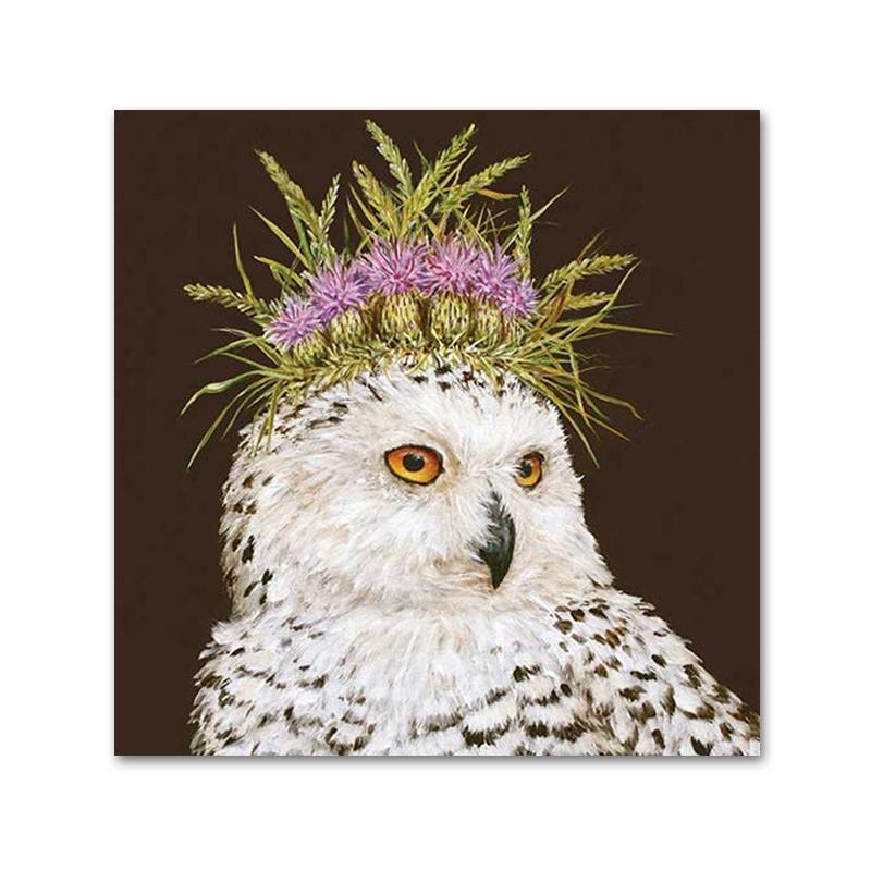 Snow Queen Owl Napkins by Vicki Sawyer - Beverage