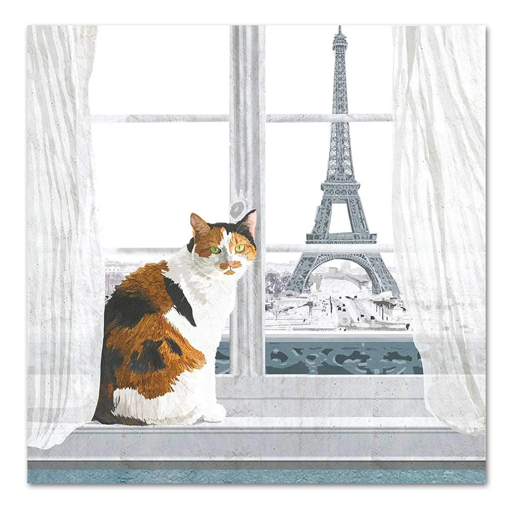 Madeleine in Paris Cat Luncheon Napkins