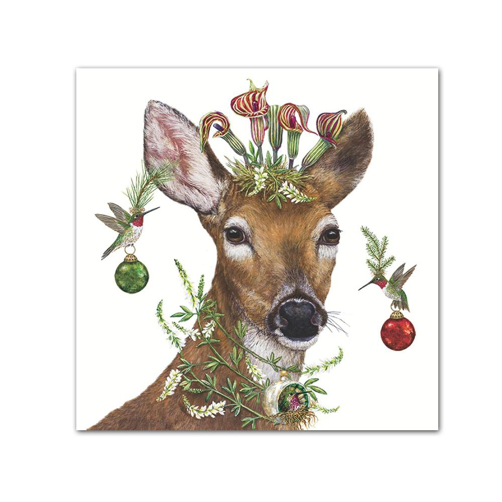 Christmas Deer Princess Beverage Napkins by Vicki Sawyer