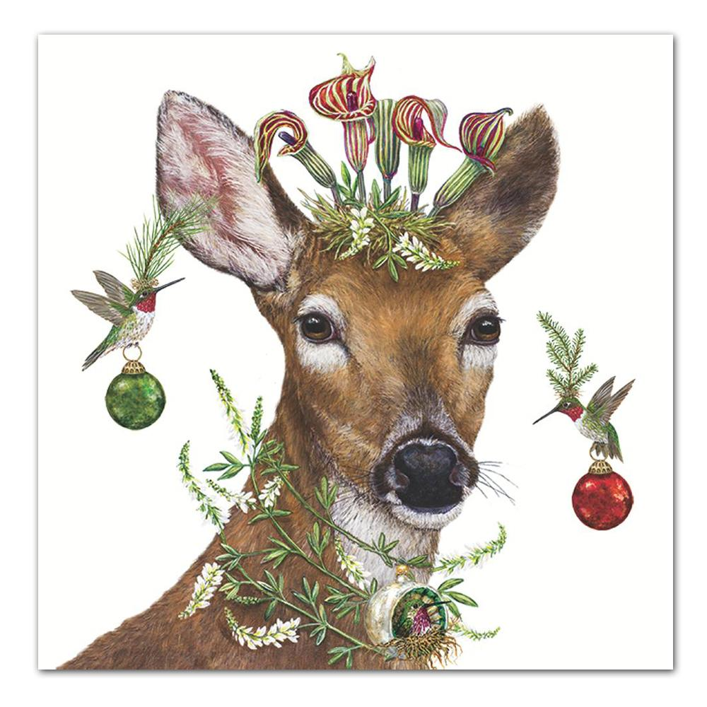 Christmas Deer Princess Luncheon Napkins by Vicki Sawyer