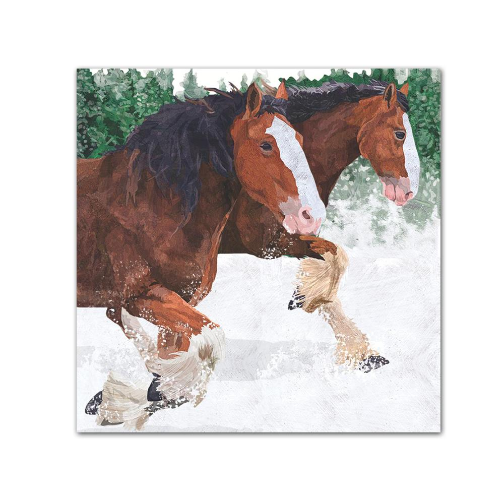 Clydesdale in the Snow Paper Beverage Napkins