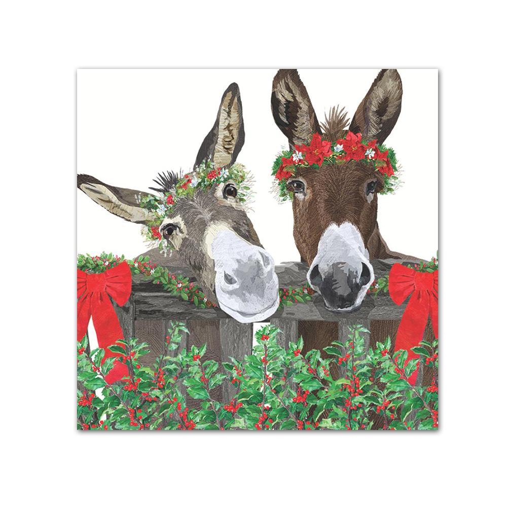 Peanut Butter & Jelly Donkey Holiday Beverage Napkins