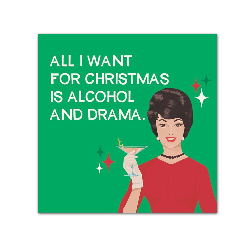 Alcohol & Drama Christmas Funny Cocktail Napkins