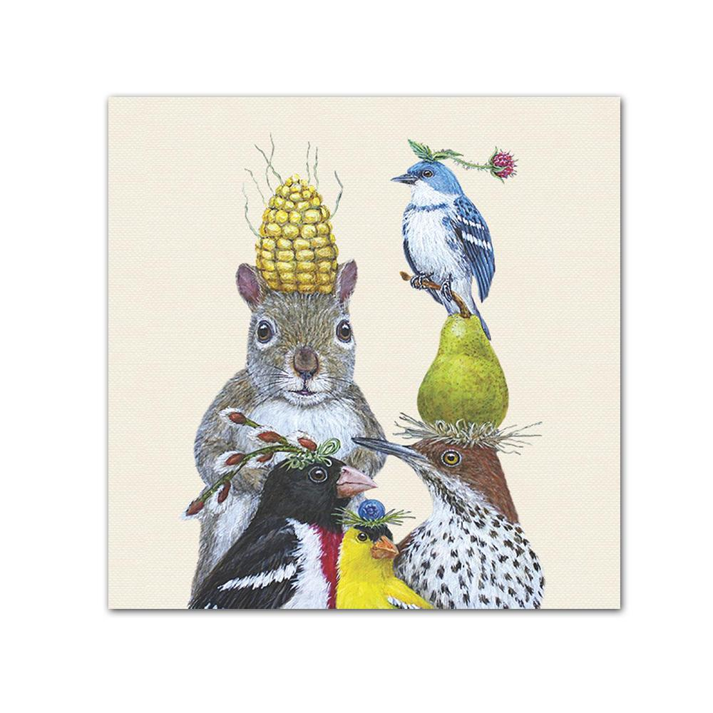 Party Under the Feeder Beverage Napkins by Vicki Sawyer