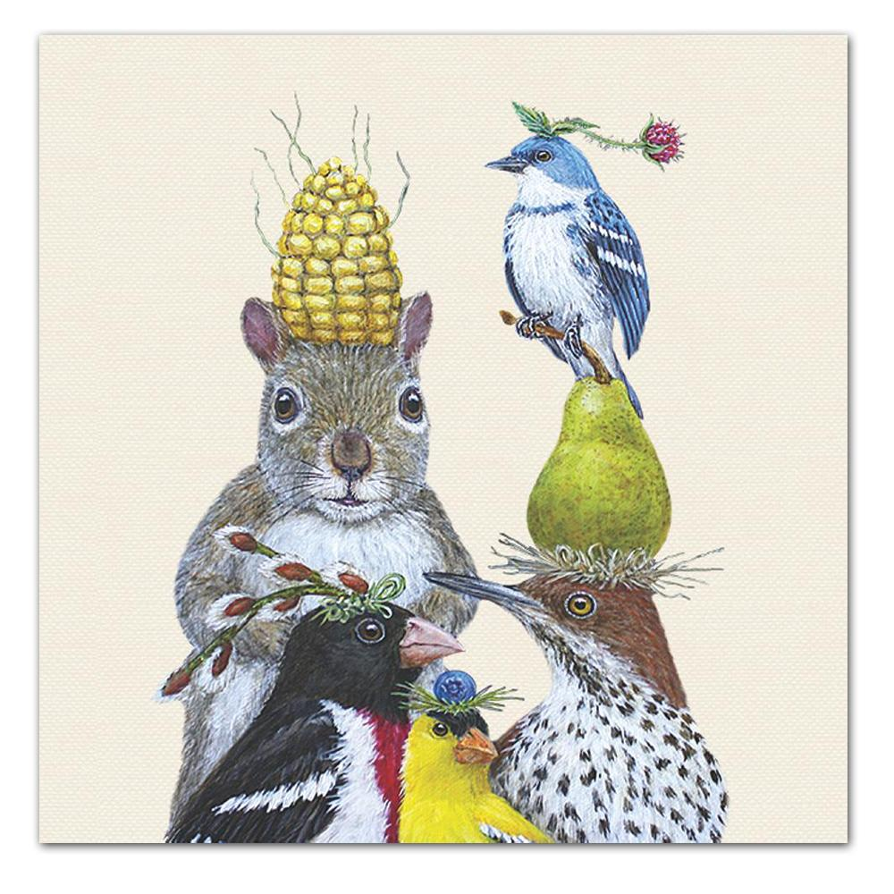 Party Under the Feeder Luncheon Napkins by Vicki Sawyer