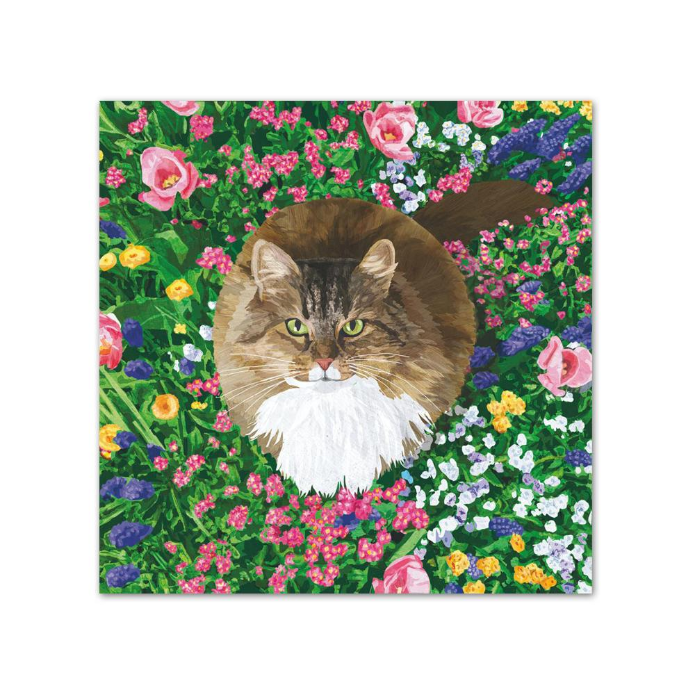 Garden Cat Paper Beverage Napkins