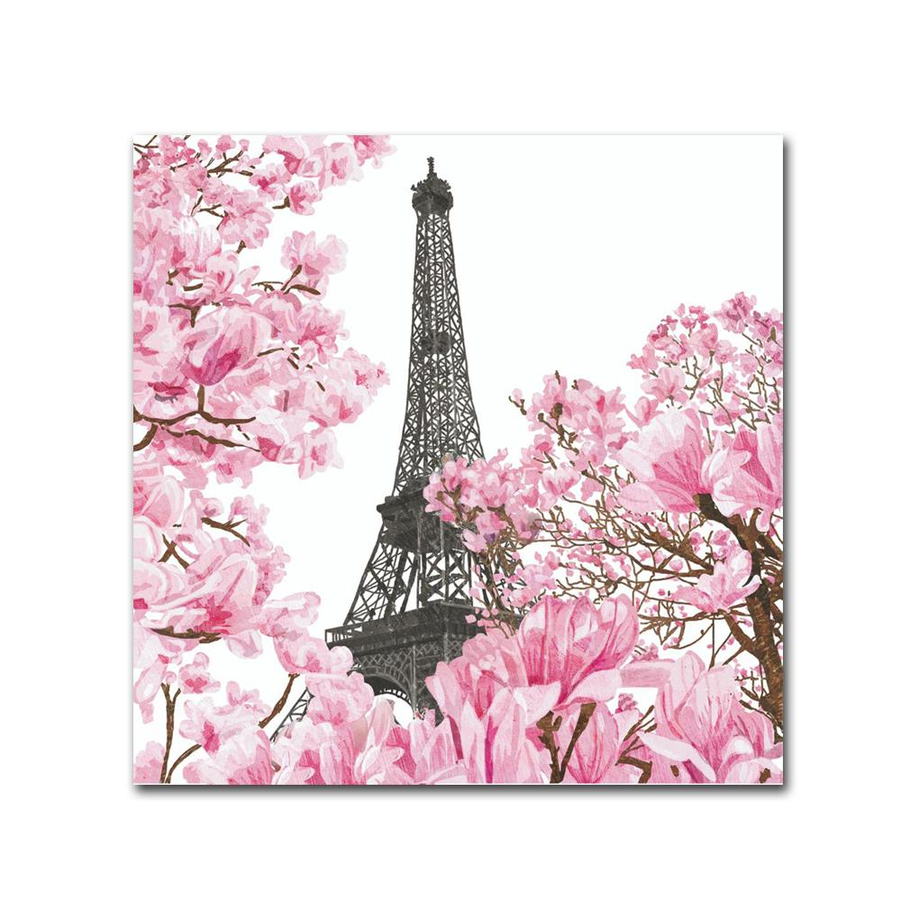 April in Paris Paper Beverage Napkins