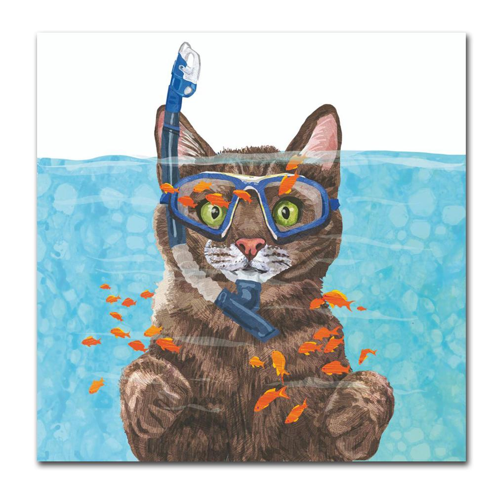 Cousteau the Cat Paper Luncheon Napkins