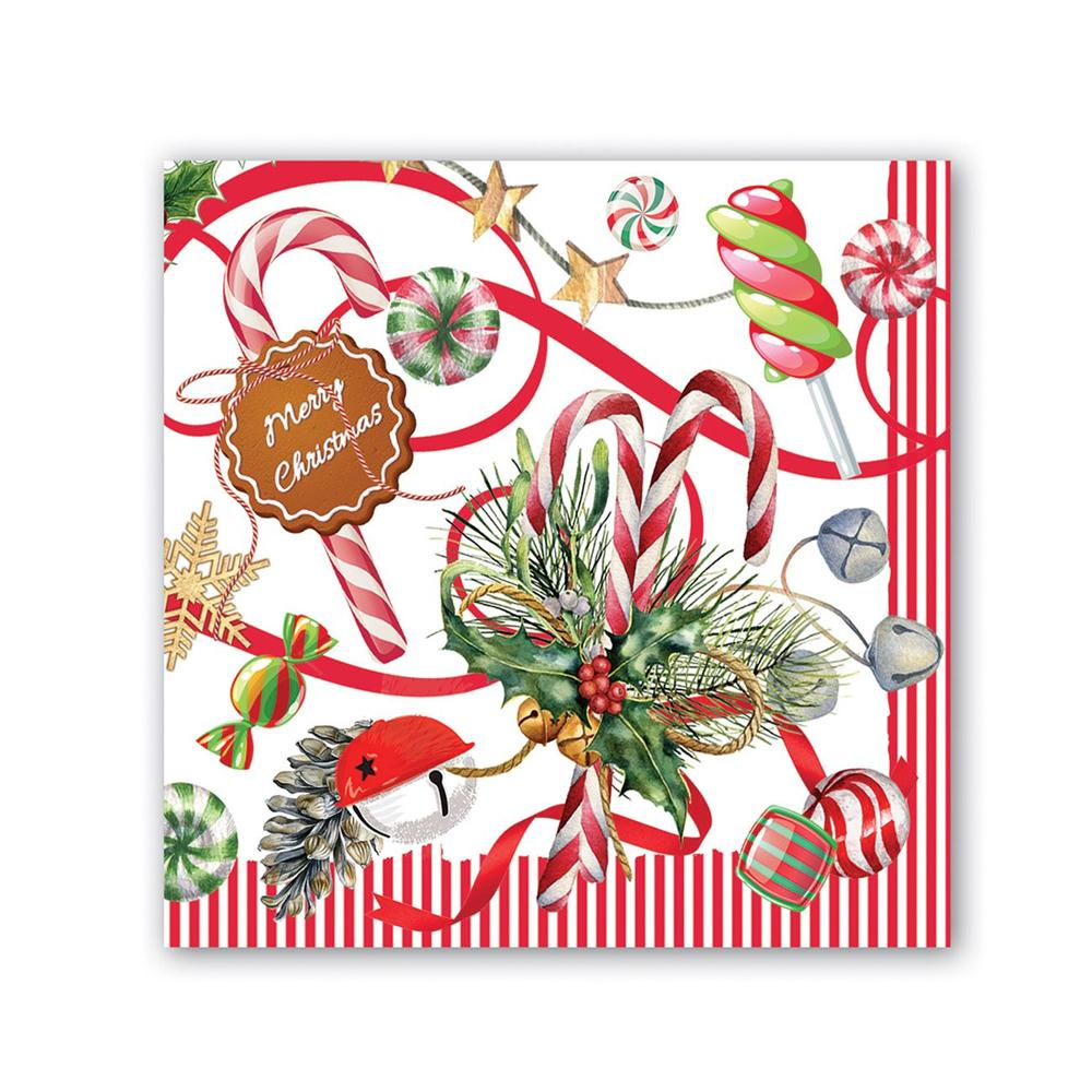 Christmas Peppermint Paper Beverage Napkins