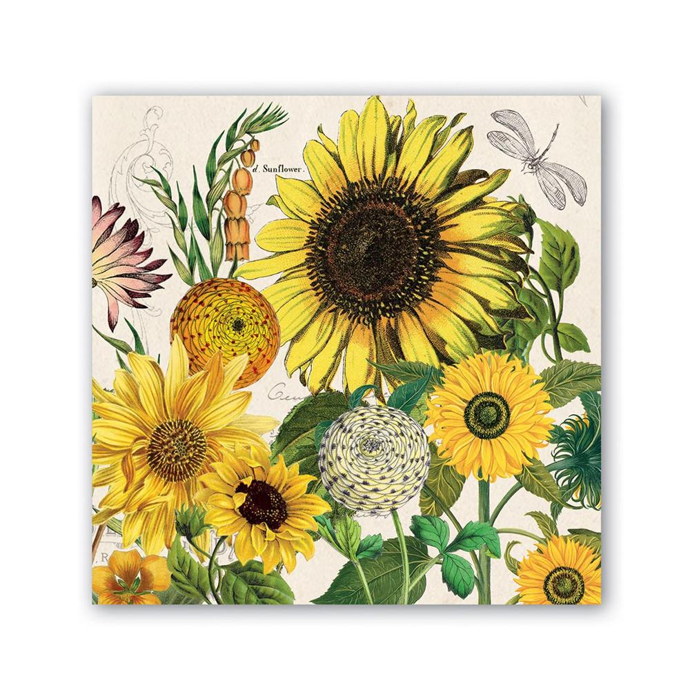 Sunflower Garden Paper Beverage Napkins
