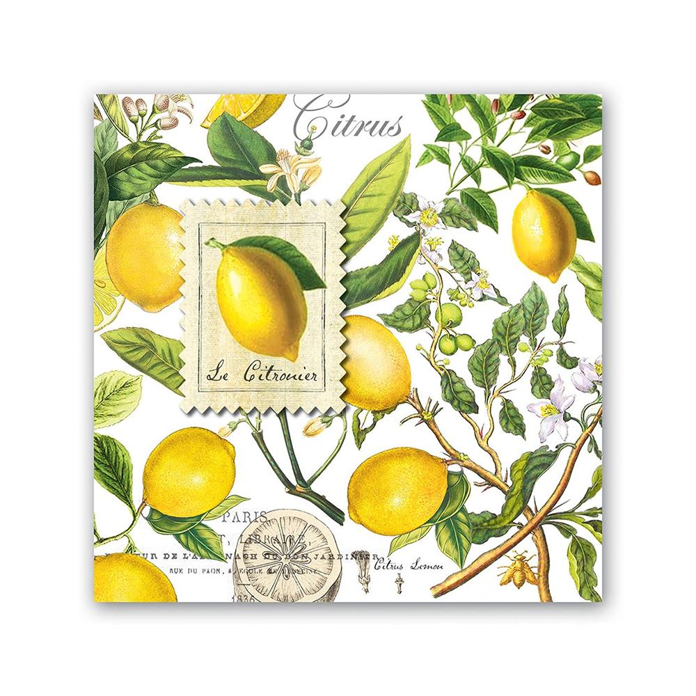 Lemon Basil Paper Beverage Napkins