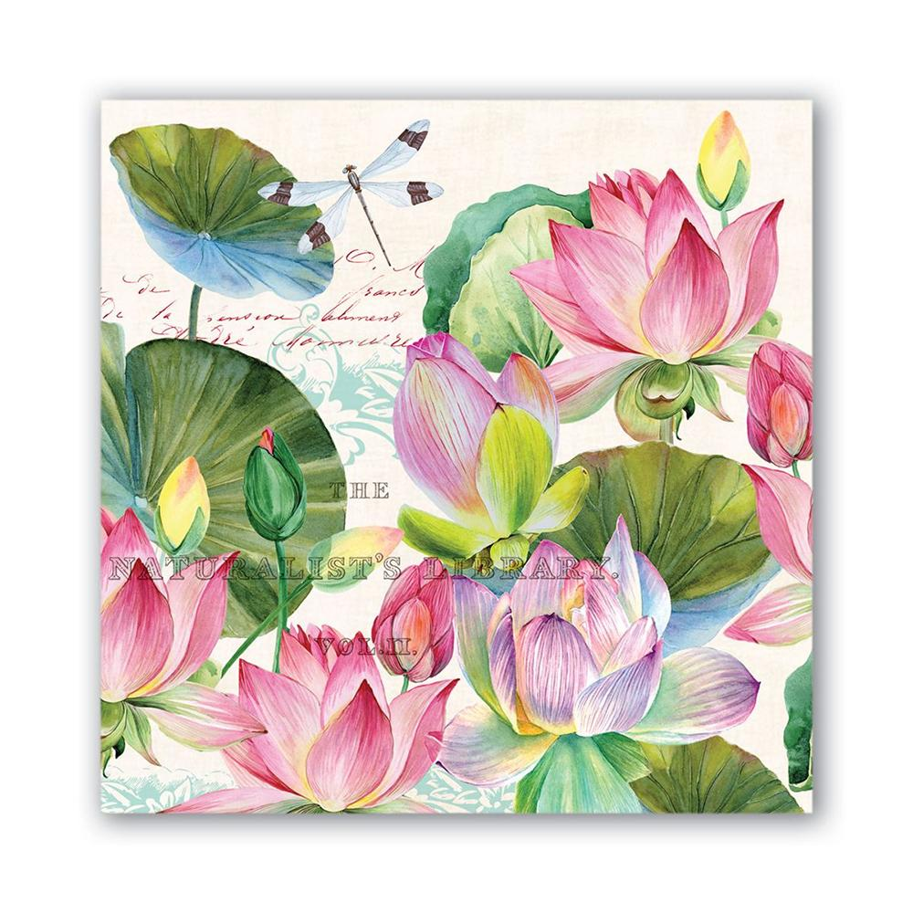 Water Lilies Paper Beverage Napkins