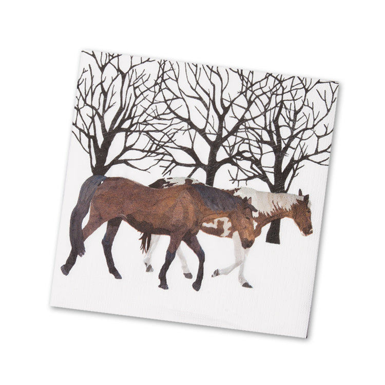 Winter Horses Paper Napkins - Beverage
