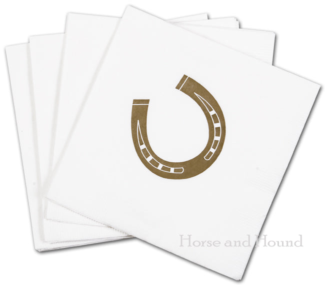 Gold Horseshoe Paper Beverage Napkins - Pkg 50