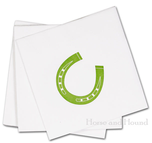 Green Horseshoe Paper Beverage Napkins - Pkg 50