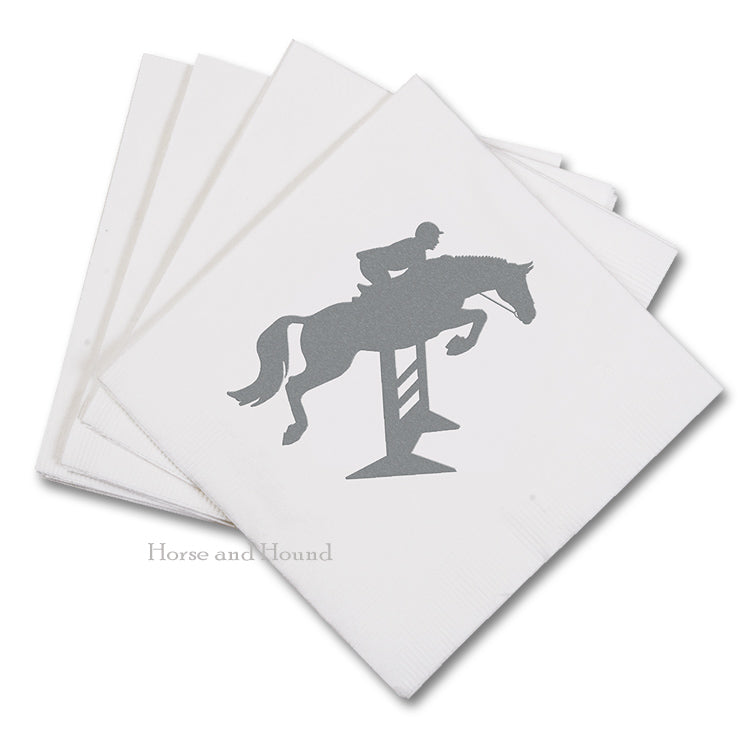 Silver Hunter Jumper Paper Beverage Napkins - Pkg 50
