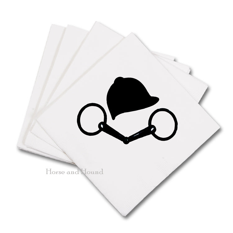 Black Bit and Helmet Equestrian Beverage Napkins - Pkg 50