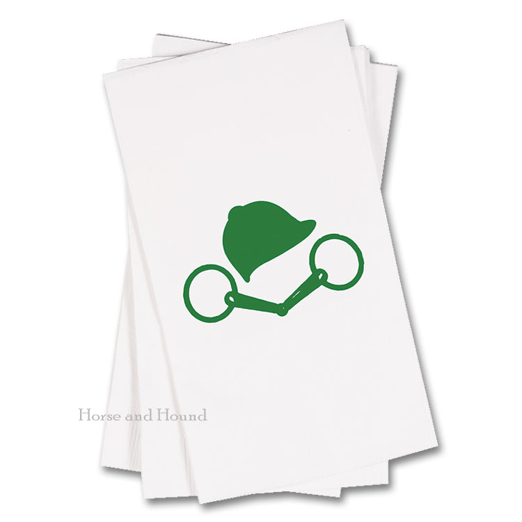 Green  Bit and Helmet Equestrian Paper Guest Towels