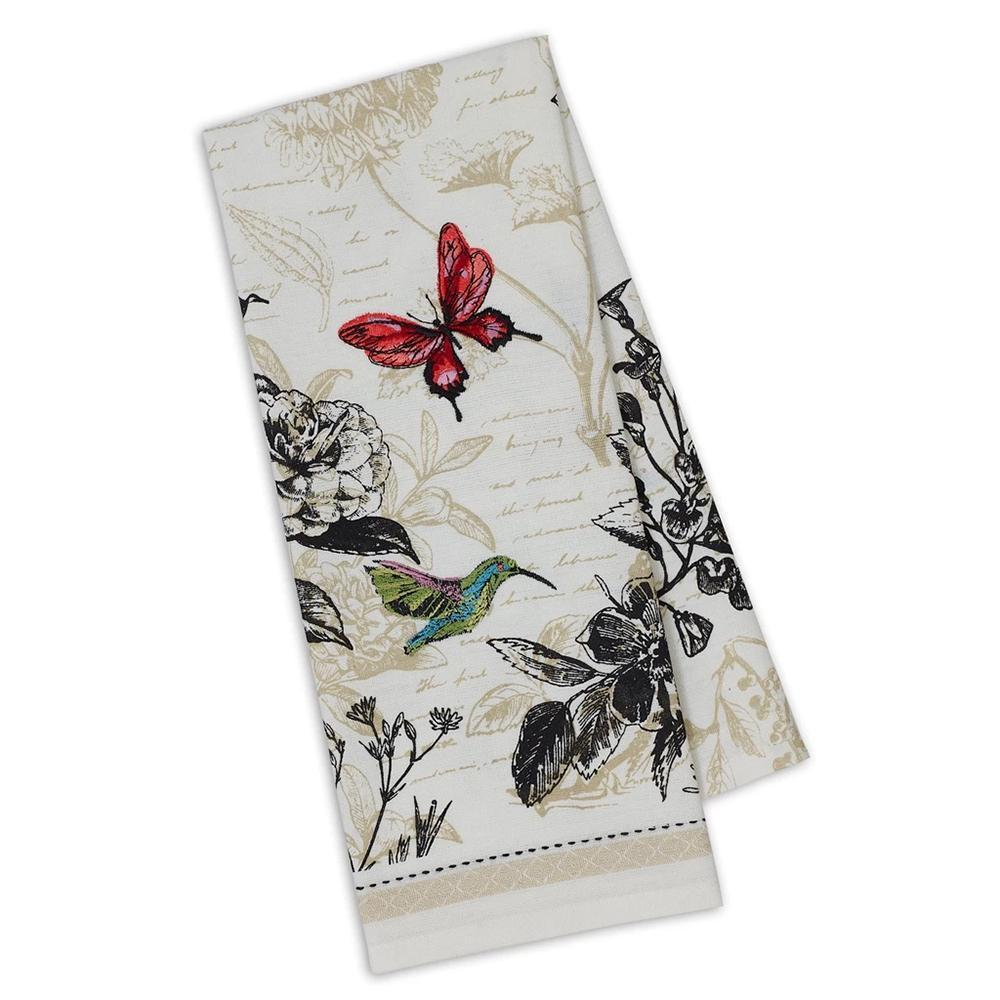 Botanical Hummingbird Embellished Kitchen Towel