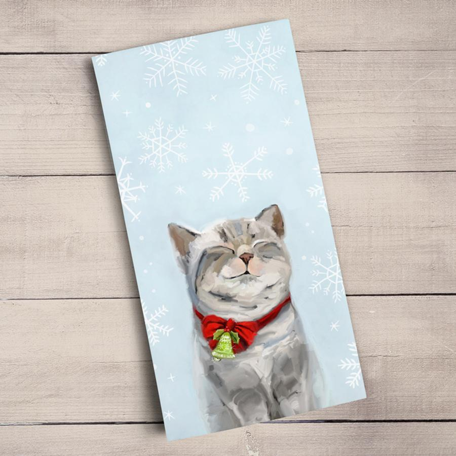 Festive Tabby Cat Holiday Kitchen Towel