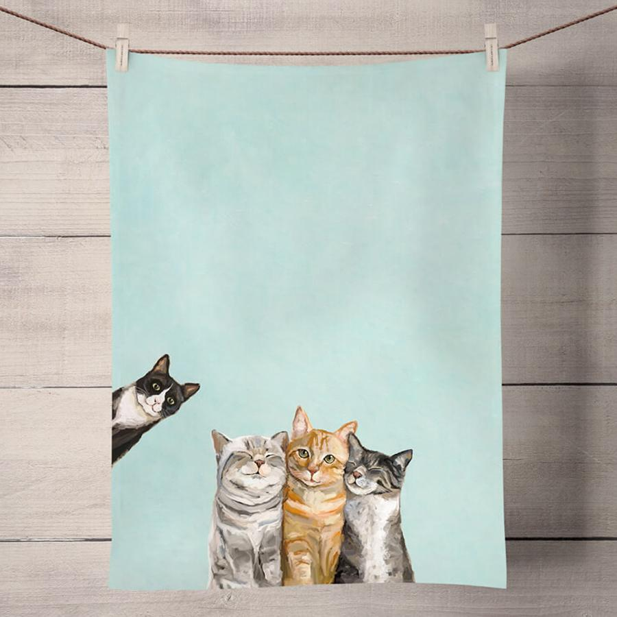 Three Cats Plus One Kitchen Tea Towel