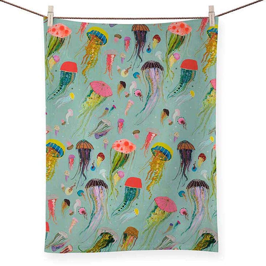 Jellyfish Fantasy Aqua Kitchen Tea Towel