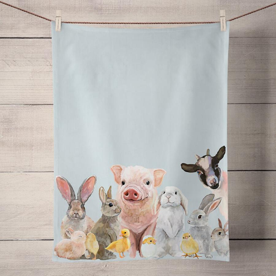 Spring Animal Babies Kitchen Tea Towel