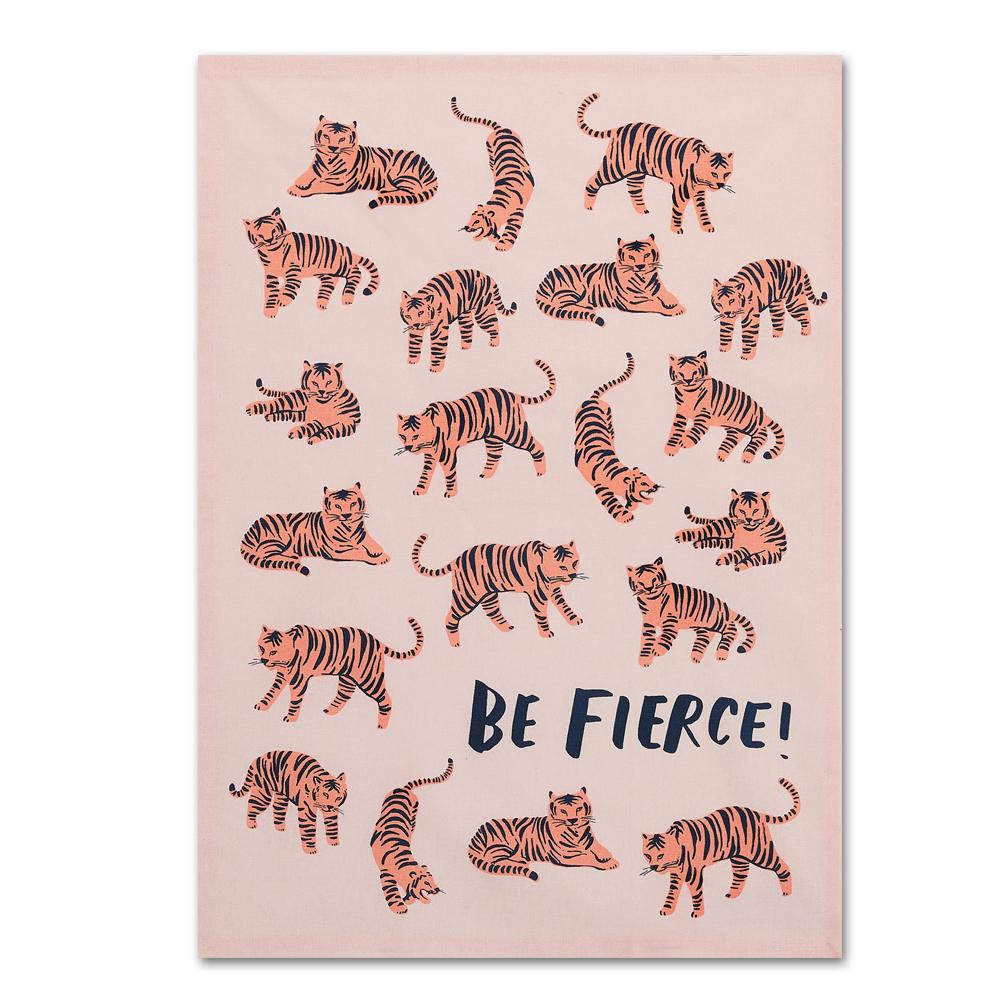 Be Fierce! Tiger Cotton Tea Towel