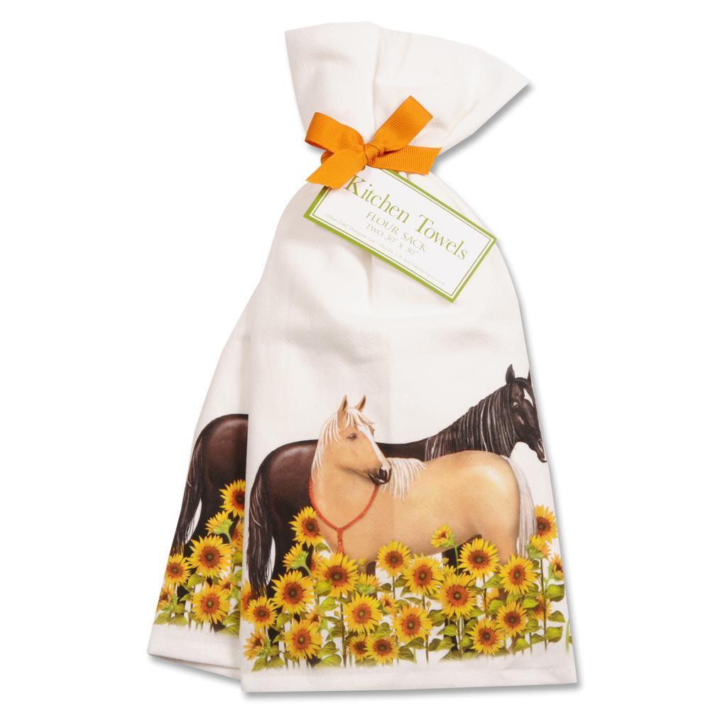 Sunflower Horses Kitchen Towels - Set of 2