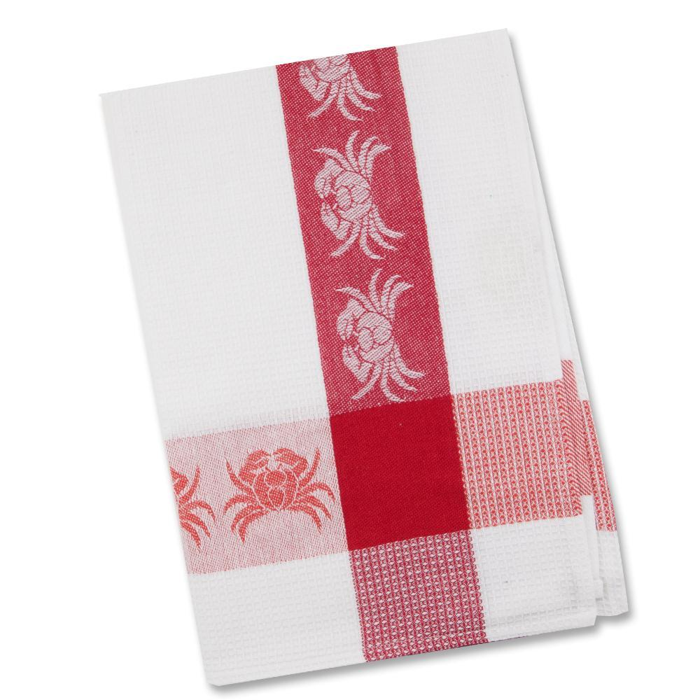 Ruby Red Crabs Waffle Weave Kitchen Towel