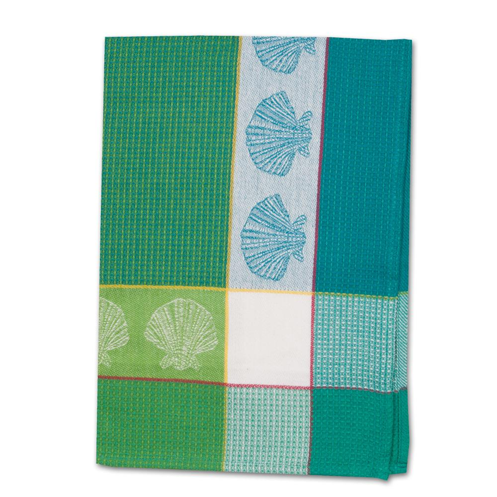Shell Citrus Waffle Weave Kitchen Towel