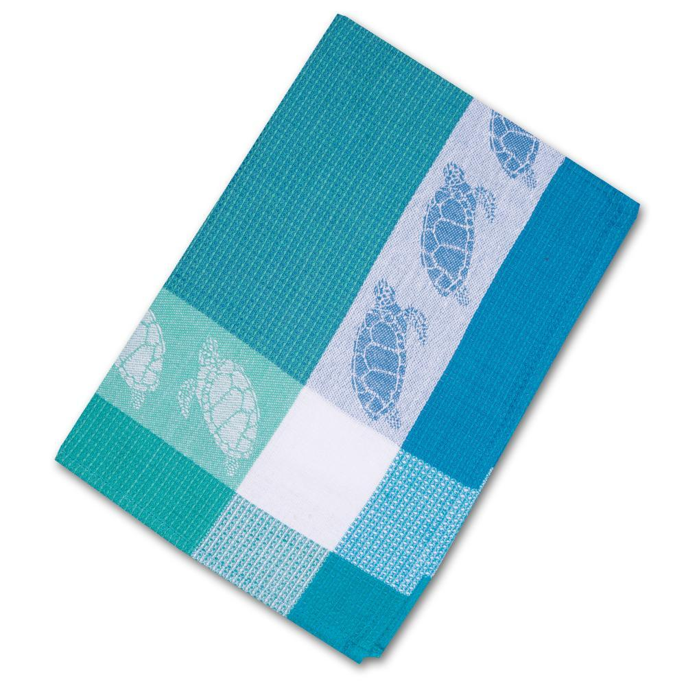 Turtles Blue Waffle Weave Kitchen Towel