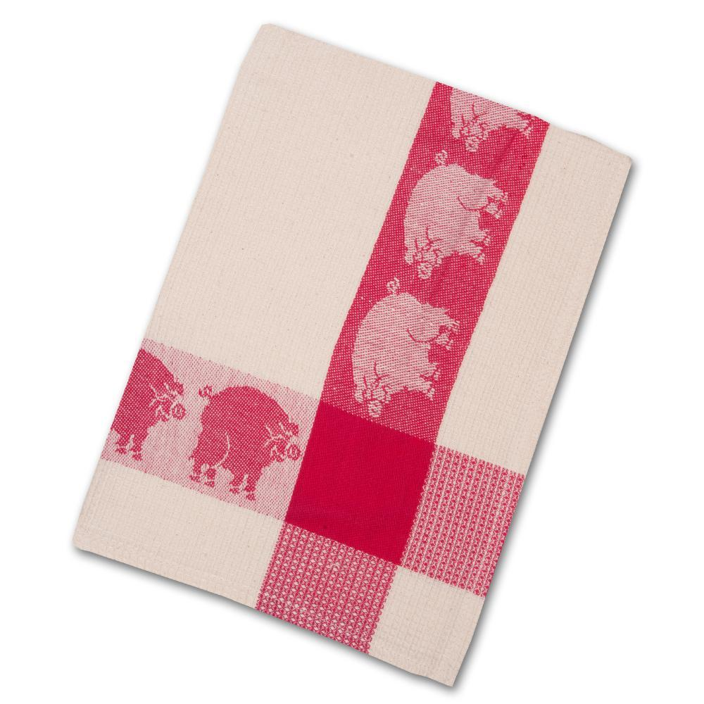 Red Pigs Waffle Weave Kitchen Towel