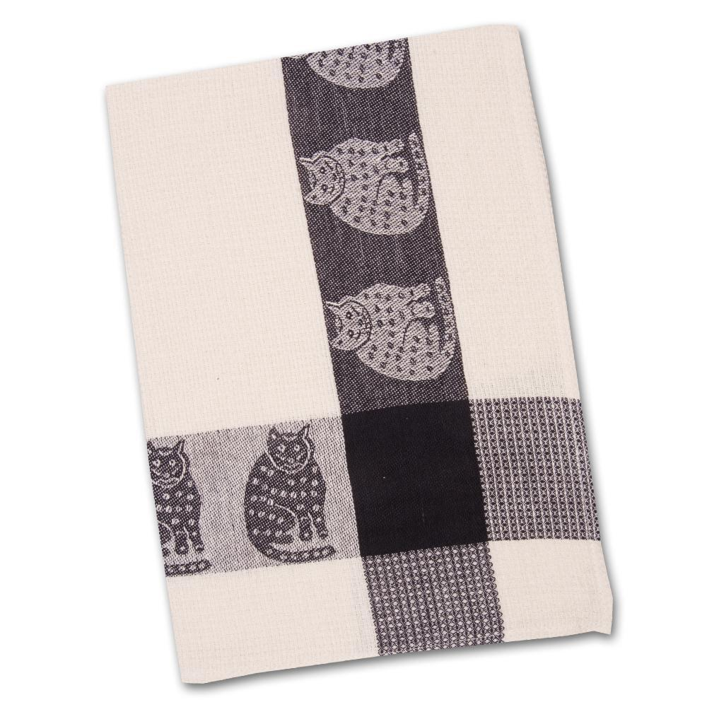 Black & White Cats Waffle Weave Kitchen Towel